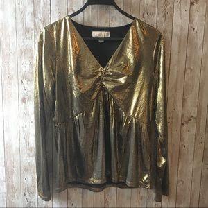 NWOT Michael Kors Gold Long Sleeve Top